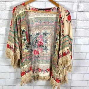 Zara - Floral Fringe Kimono - L